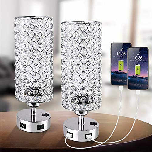 Focondot USB Crystal Table Lamp with Press Switch,Stylish Nightstand Lamps with Dual USB Charging Port,Silver Bedside Lamp Perfect for Bedroom Living Room Office Guest Room(Set of 2)