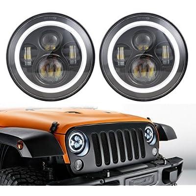 "ANR Jeep 7"" LED Black Headlight Set With White Halo Angel Eye Ring DRL & Amber Turn Signal Lights fits Jeep Wrangler JK LJ CJ Hummer REPLACES ANY 7"" HEADLIGHT: Automotive"