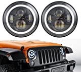 """Best Set For Jeeps - 7"""" LED Black Headlight Set With White Halo Review"""