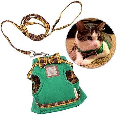 Ezeso mascota gato ajustable gatos gato arnés chaleco arnés de seguridad con correa para caminar, correr
