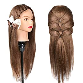 Besmall 26″ Doll Hairdressing Mannequin Manikin Training Head 100% Real Natural Human Hair Cosmetology Hairdressing Practice