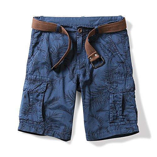 OCHENTA Men's Lightweight Leaves Pattern Cargo Shorts Blue US 27 - Tag 28 (Belt Camoflauge)