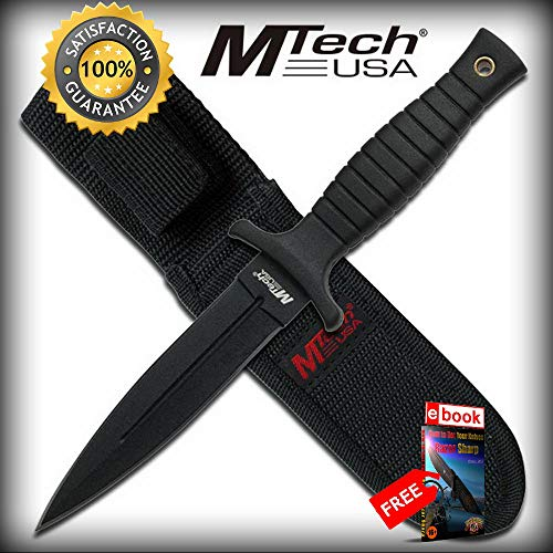 9'' Black Double-Edged Boot SHARP KNIFE with Sheath, Clip Combat Tactical Knife + eBOOK by Moon Knives