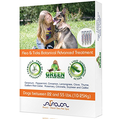 Arava Flea & Tick Control Drops: Treatment for Dogs (4-Doses) - Natural, Aromatherapy Medicated. Repels Pests with Natural Oils - Safe on Skin and Coats - Enhanced Defense & Prevention (3 Variations) (Flea Control Organic)
