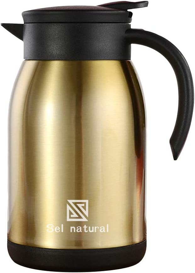 900 ml Stainless Steel Thermal Coffee Carafe - 30 Oz Double Walled Vacuum Flask , BPA-Free Vacuum Hot Cold Beverage Thermos (Gold)