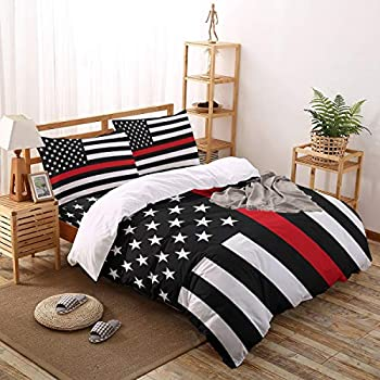 Image of Home and Kitchen Red Line Respect Fireman 4 Piece Bedding Set Duvet Cover Set- King Size Ultra Soft Microfiber Quilt Cover with Zipper Closure (1 Comforter Cover + 1 Flat Sheet + 2 Pillowcases)- American Flag Theme