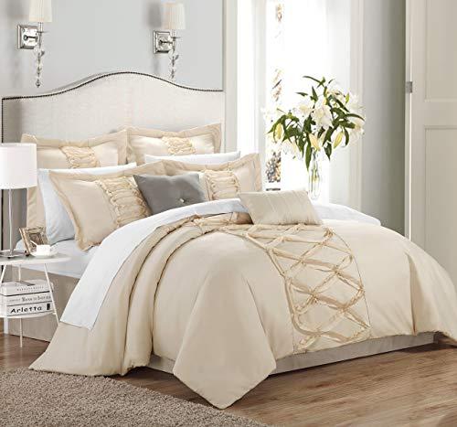 Chic Home 8 Piece Ruth Ruffled Comforter Set, Queen, Beige (Comforter Beige Set)