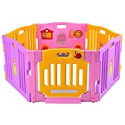 Costzon Baby Playpen Kids Safety Activity Center Play Zone (6 Panel, Pink)