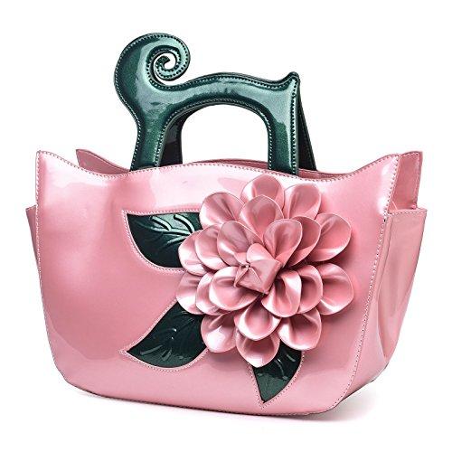 Borsa Fiore Verniciata Borse Pelle Kaxidy Eleganti Tracolla Rosa TOqtfywFy