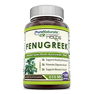 Pure Naturals Fenugreek Seed, 610 Mg, 180 Count