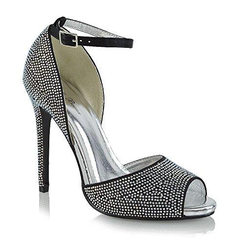 ESSEX GLAM Womens Diamante High Heel Peep Toe Black Satin Bridal Shoes 8 B(M) US