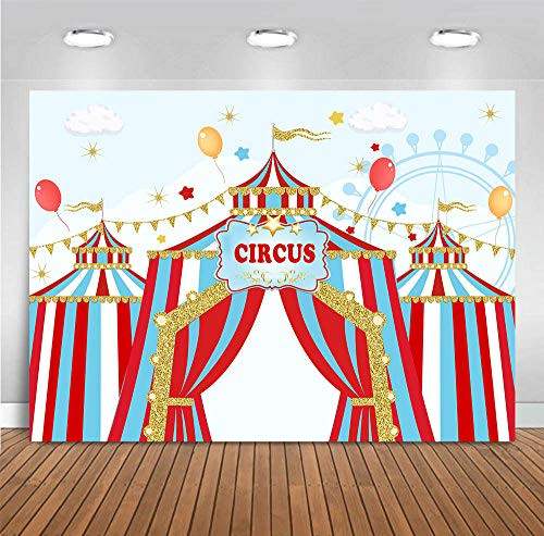 Fanghui 7x5ft Red Circus Photography Backdrop Carnival Carousel Big Top Tent First 1st Background Baby Shower Kids Birthday Party Banner Supplies Dessert Candy Cake Table Background Photobooth Props -