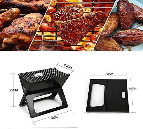 NBCDY Barbecue à charbon pliable en acier inoxydable ultra léger pour la cuisson en plein air, le camping, la randonnée, les pique-niques, le jardin, les voyages