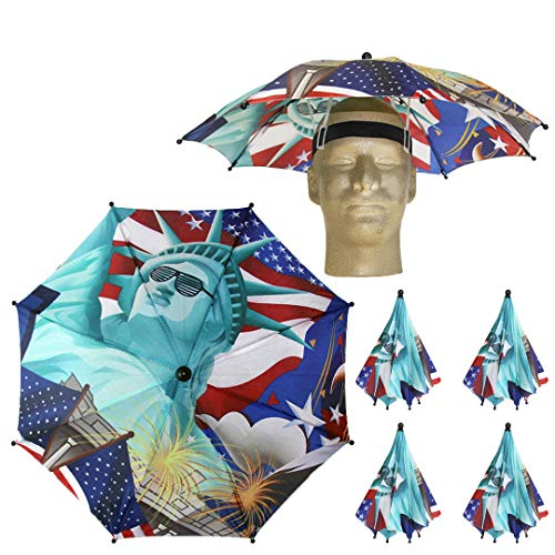Funbrella Hats - PATRIOTIC Umbrella Hat - The Lit Lady Liberty - Rain Sun Resistant -Easy Elastic Fit for Adults & Kids - Umbrella Hats for a Costume Party, Festival, Fishing, Hiking and the Beach]()
