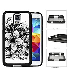 Floral Sketch Drawing Black And White Rubber Silicone TPU Cell Phone Case Samsung Galaxy S5 SV SM-G900