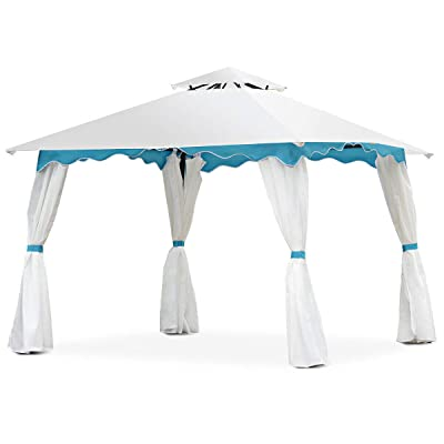 Kanizz 2-Tiers Roof 10'x10' Outdoor Sports Picnic BBQ Dinner Wedding Birthday Party Event Shelter, Canopy Home Patio Backyard Garden Celemony Tent Gazebo, Sunlight&Rain Protection, w/Side Wall : Garden & Outdoor