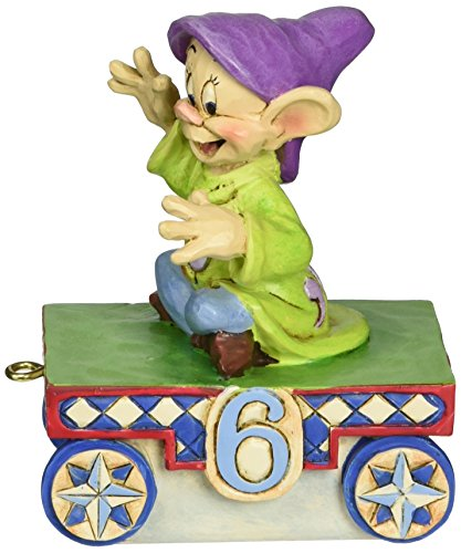 "Age 6 Figurine (Disney Traditions by Jim Shore Snow White Dopey Baby Birthday Train Age 6 Stone Resin Figurine, 3.5"")"