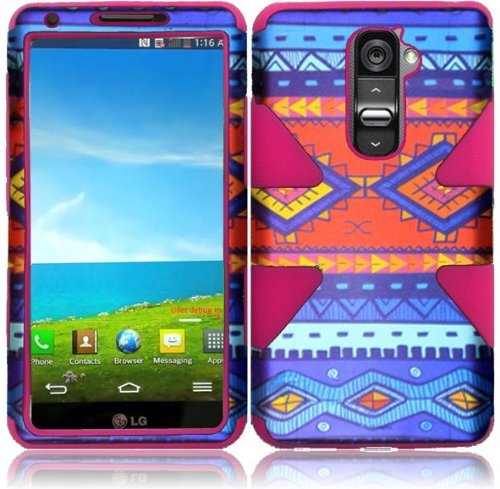 Blue Folk Design Double Protection Hi-Tech DURABLE Two in One Hard and Silicon Cover Case for LG G2 VS980 D800 (by AT&T / T-Mobile / Sprint / Verizon) with Free Gift Reliable Accessory Pen (T Mobile Cell Phones Lg G2)
