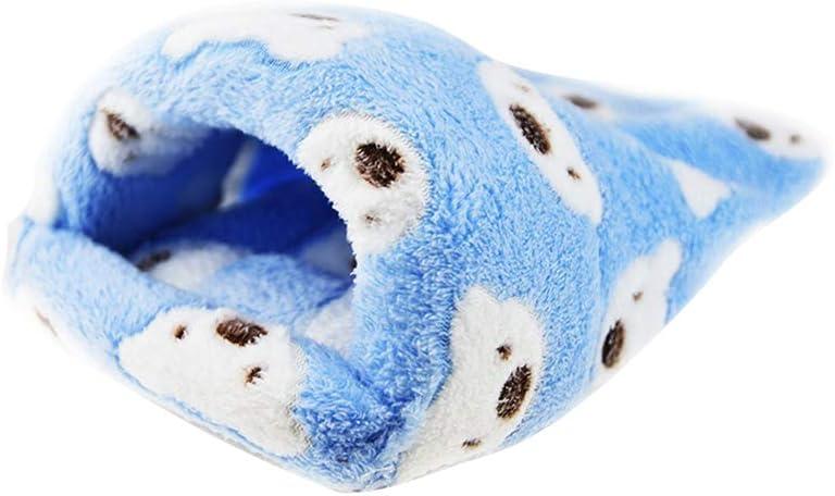 UKCOCO Saco de Dormir de Felpa Caliente para Mascotas Pequeñas, Accesorios de Cama de Jaula de Invierno de Hámster Ardilla Erizo Conejo Chinchilla - Tamaño M (Azul)