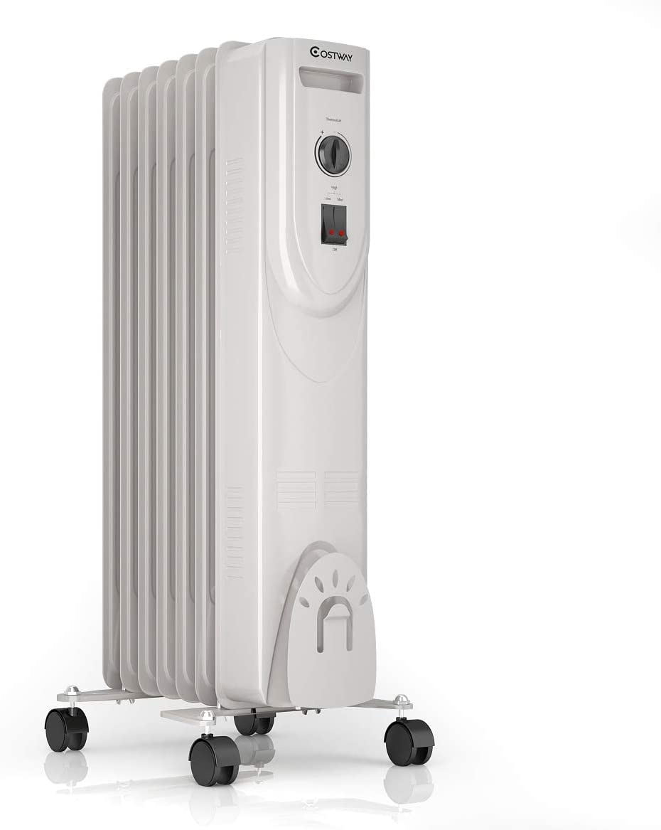 """COSTWAY Oil Filled Heater, 1500W Portable Radiator Space Heater with Adjustable Thermostat, Overheat & Tip-Over Protection, Quiet Full Room Heater for Bedroom & Office, White (25"""" Height)"""