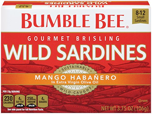 Bumble Bee Wild Sardines, Mango Habanero in Extra Virgin Olive Oil, Pack of 12, 3.75 Ounce ()