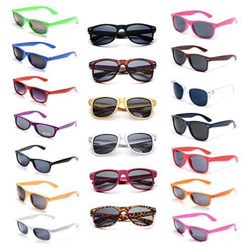 Rainy Night 20 Neon Colors Unisex 80'S Retro Style Wholesale Sunglasses for Party Favor Supplies (20-Pack Mix) -