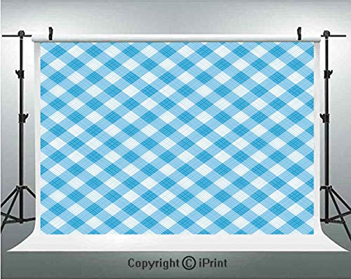 Checkered Photography Backdrops Blue and White Gingham Fabric Texture Image Country Style Plaid Crossed Stripes Decorative,Birthday Party Background Customized Microfiber Photo Studio ()