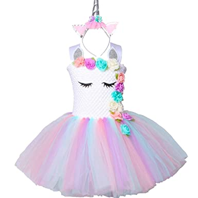 12ad5cf4a01a6 Pastel Unicorn Tutu Dress for Girls Kids Birthday Party Unicorn Costume  Outfit with Headband Size 2T 3T 4T 5T 6T 7T 8T