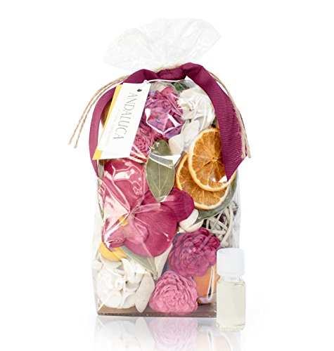 Andaluca Forbidden Flower Oasis Potpourri | Large 20 oz Bag + Fragrance Vial | Scents of Italian Bergamot, Jasmine, Plum, Jasmine, Rose, Lilac, Cashmere Musk | Pink Home Decor Fragrance