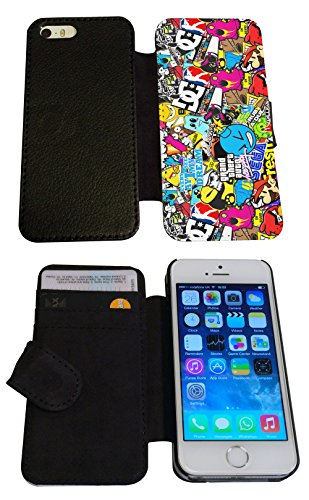 iphone 5 5S Funky StickerBomb Sticker Bomb Cartoon Designer Full Case /Book Style Flip cover Defender Credit Card Holder Pouch Case Cover iPhone Wallet