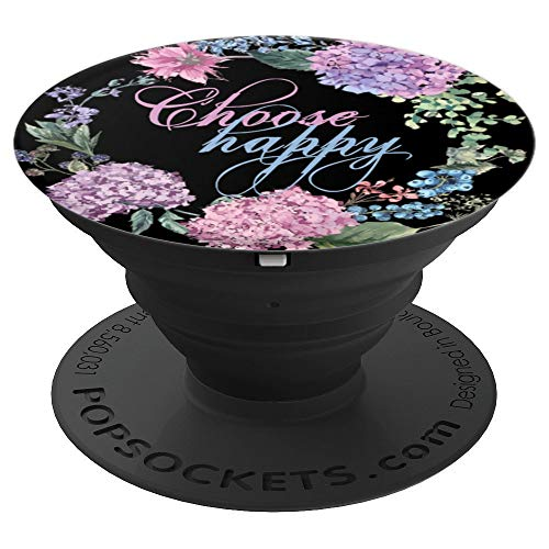 Choose Happy Quote Pretty Script Floral Gardenia Pop Socket - PopSockets Grip and Stand for Phones and -