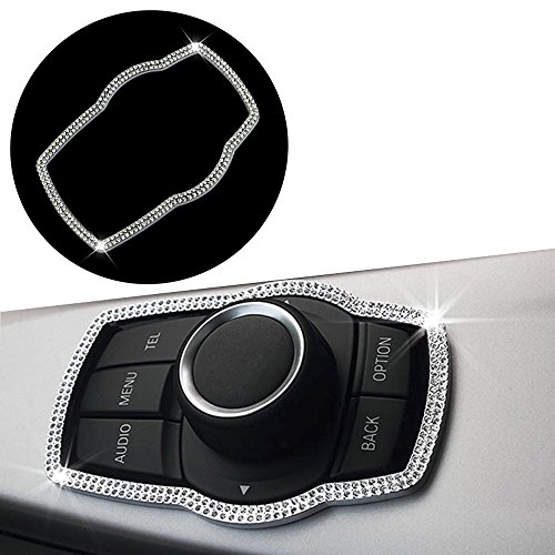 (Thor-Ind Bling Crystal Diamond Car Interior Center Console Multimedia Buttons Decor Frame Cover Trim For BMW 1 3 4 5 7 Series X1 X3 X4 X5 X6 2013-2014 E38 E70 E71 E81 E84 E87 F01 F07 F10 F11 (Silver))