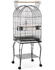IKayaa Wrounght Iron Bird Pappagallo Gabbia Giocare Top Macaw Cockatoo Parakeet Conure Finch Cage + in Acciaio Inox Bowl & Lockable Wheels