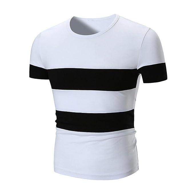 Hombre Camisa Verano 2018, Rayas Blancas y Negras Casual Patchwork O Neck Pullover Manga