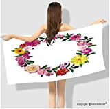 VROSELV Cotton Microfiber Bathroom Bath Towel-frame made from summer pink flowers and green leaves isolated on white background natural photo Custo Custom pattern of household products(55.1''x27.6'')