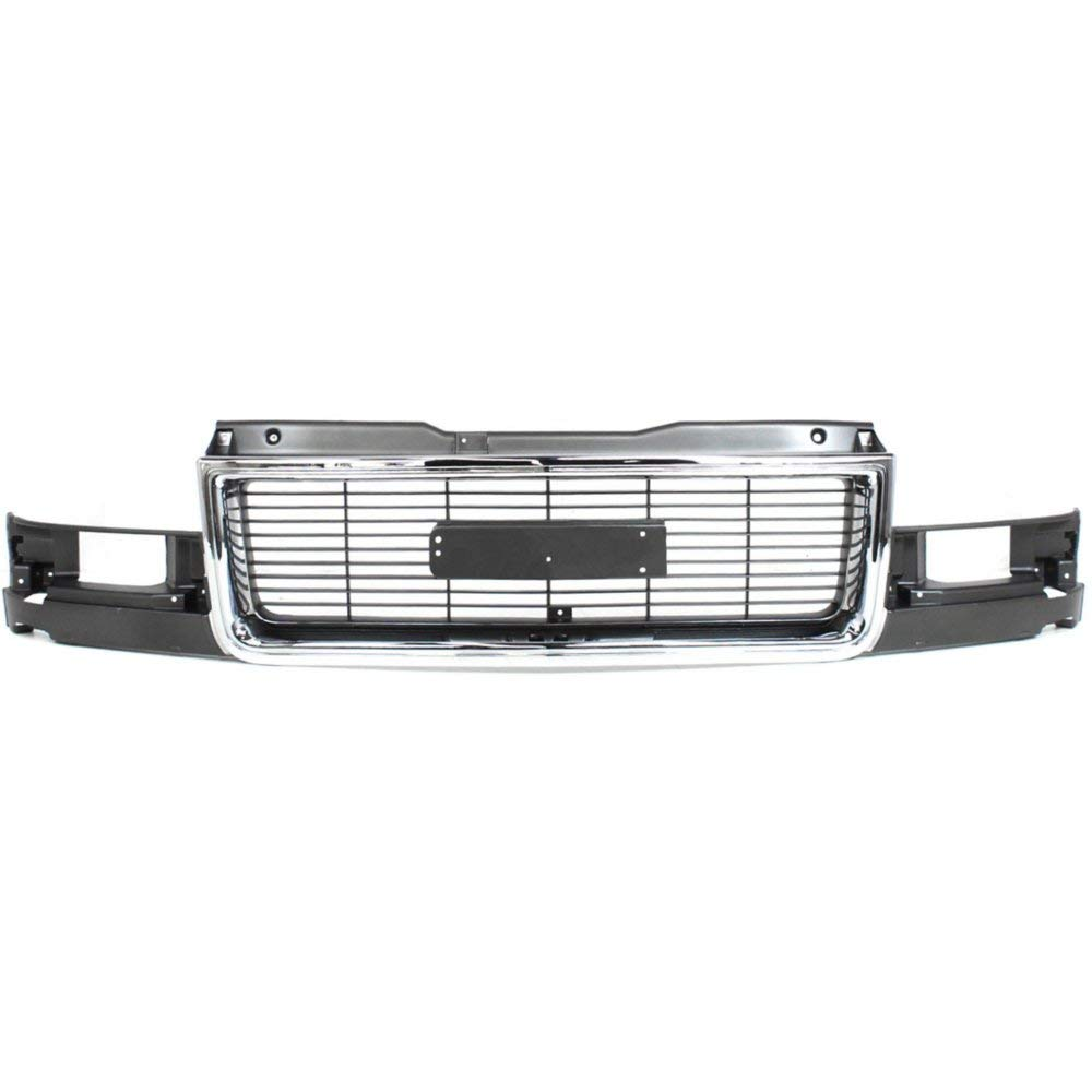 Grille compatible with GMC Safari 95-05 Chrome Shell//Painted-Gray Insert W//Composite Headlight