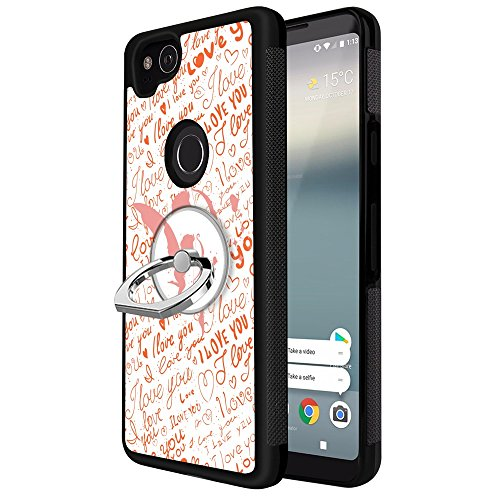 (Google Pixel 2 Case with Ring Holder Stand Cupid Angel, YC Hongda Series - Ultra Slim Luxury Case Cover With 360 Rotating Ring Grip/Stand Holder/Kickstand For Google Pixel 2, black)