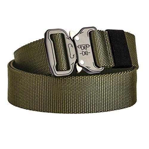 Review KingMoore Men's Tactical Belt Heavy Duty Webbing Belt Adjustable Military Style Nylon Belts with Metal Buckle (Army Green1, Medium)
