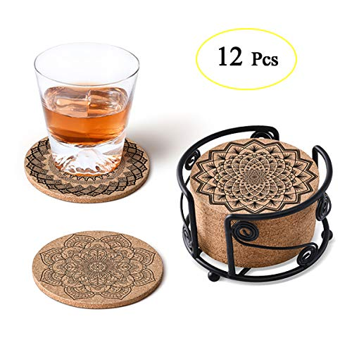 - MASGALACC Cork Coasters for Drinks with Metal Holder-set of 12-4