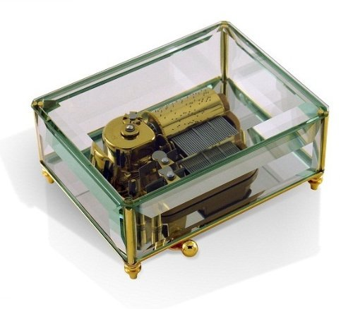 Beveled Glass Crystal Classic Stunning 30 Note Mirrored Music Box, Limited Production - Scarborough Fair by MusicBoxAttic