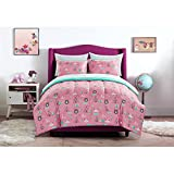 Mainstays Kids Pink and Turquoise Geometric Woodland Safari Forest Animals Bedding Full Comforter for Girls (5 Piece in a Bag)