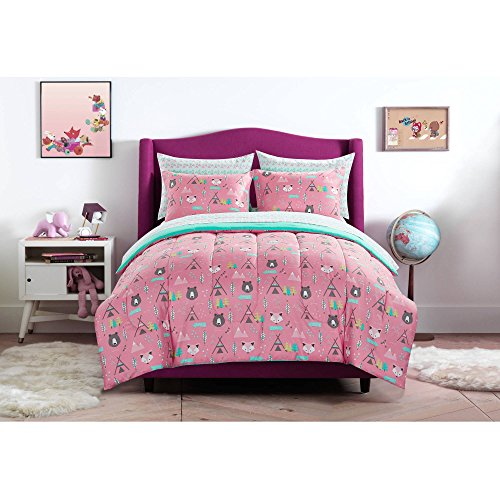 Mainstays Kids Pink and Turquoise Geometric Woodland Safari Forest Animals Bedding Full Comforter for Girls (5 Piece in a Bag) (Bedding In A Bag Full Forest)