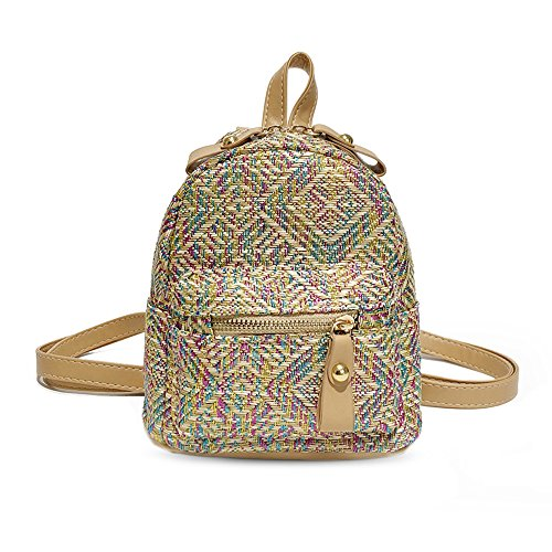 Godea 18 New Grass Woven Mini Shoulder Bag Female Small Backpack Hit Color Fashion Multi-Purpose Backpack Color