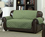 Geneva Home Fashion Avondale Manor Ashford Reversible Love Seat Cover, Sage/Linen