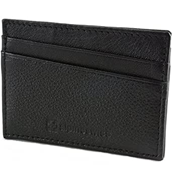 AlpineSwiss Leather Card Case Wallet Slim Super Thin 5 Card Slots Front Pocket,One Size,Black