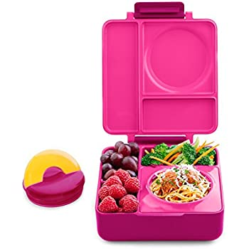 OmieBox Bento Lunch Box With Stainless Steel Vacuum Insulated Food Flask, Pink Berry