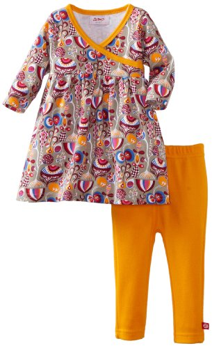 Zutano Baby Girls' Peacock Long Sleeve Dress With Legging Set