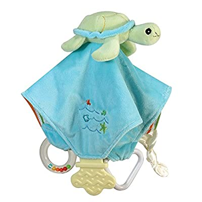 Stephan Baby Go Fish Plush Chewbie Activity Toy and Teething Blankie, Green Sea Turtle : Baby