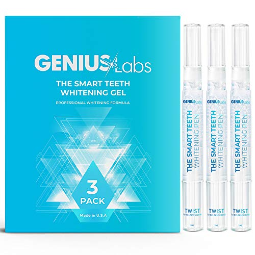 GENIUS Teeth Whitening Pen(3 Pack), 40+ Uses, Effective, Painless, No Sensitivity, Travel-Friendly, Easy to Use, The Smart Teeth Whitening Pen