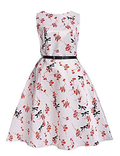 MOREMOO Girls Sleeveless Retro Vintage Floral Print Swing Party Dress(Pattern-14 10-11 Years) ()